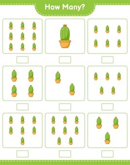 Spel tellen, hoeveel cactus. educatief kinderspel, afdrukbaar werkblad