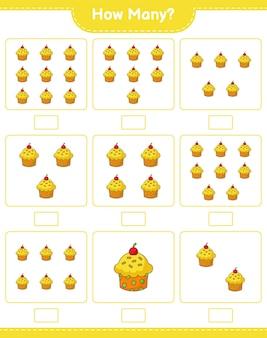 Spel tellen, hoeveel cup cake. educatief kinderspel, afdrukbaar werkblad