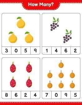 Spel tellen, hoeveel fruit. educatief kinderspel, afdrukbaar werkblad, illustratie