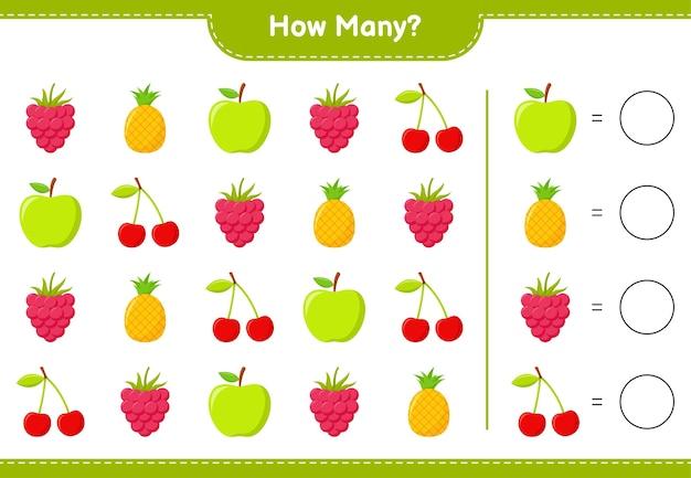 Spel tellen, hoeveel fruit educatief kinderspel, afdrukbaar werkblad