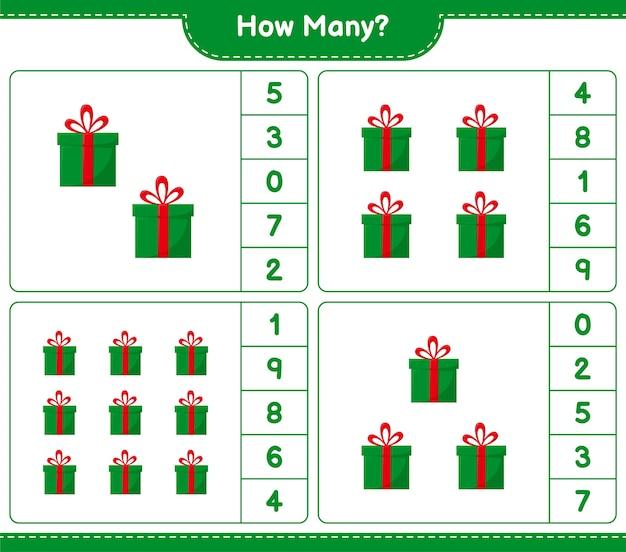 Spel tellen, hoeveel geschenkdozen. educatief kinderspel, afdrukbaar werkblad,