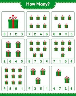 Spel tellen, hoeveel geschenkdozen. educatief kinderspel, afdrukbaar werkblad
