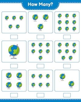 Spel tellen, hoeveel globe. educatief kinderspel, afdrukbaar werkblad