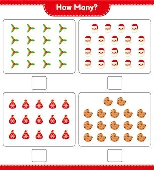 Spel tellen, hoeveel kerstversiering educatief kinderspel, afdrukbaar werkblad,