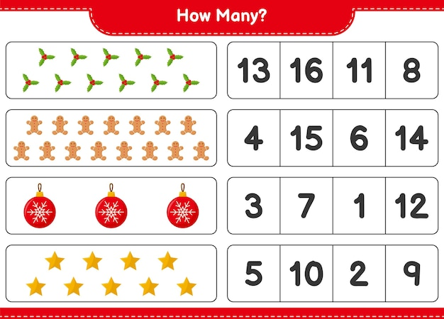 Spel tellen, hoeveel kerstversiering educatief kinderspel, afdrukbaar werkblad