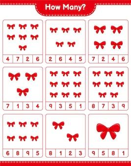 Spel tellen, hoeveel linten. educatief kinderspel, afdrukbaar werkblad
