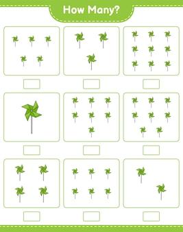 Spel tellen, hoeveel pinwheels. educatief kinderspel, afdrukbaar werkblad