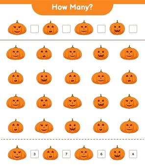 Spel tellen, hoeveel pompoenen educatief kinderen spel, afdrukbaar werkblad, illustratie