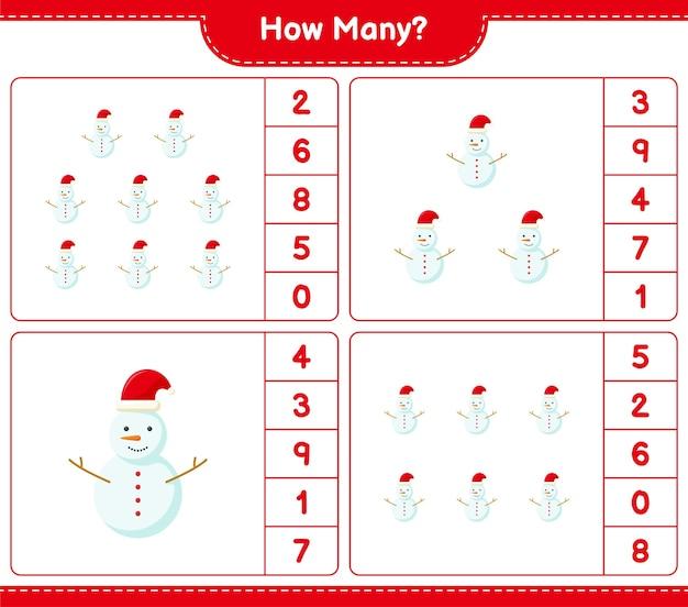 Spel tellen, hoeveel sneeuwman. educatief kinderspel, afdrukbaar werkblad,