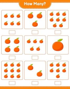 Spel tellen, hoeveel tangerin. educatief kinderspel, afdrukbaar werkblad