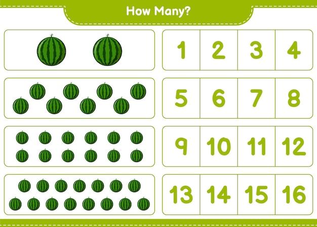 Spel tellen, hoeveel watermeloen. educatief kinderspel, afdrukbaar werkblad