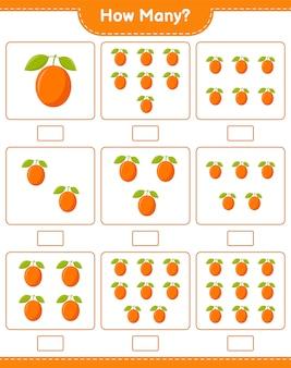Spel tellen, hoeveel ximenia. educatief kinderspel, afdrukbaar werkblad