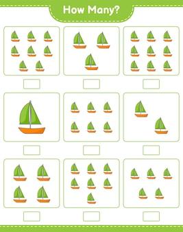 Spel tellen, hoeveel zeilboot. educatief kinderspel, afdrukbaar werkblad
