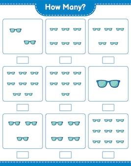 Spel tellen, hoeveel zonnebrillen. educatief kinderspel, afdrukbaar werkblad