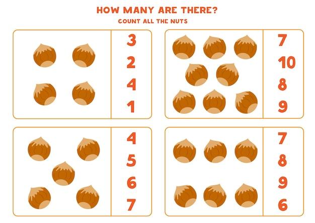 Spel tellen met cartoon hazelnoten. educatief wiskunde-werkblad.