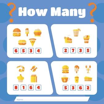 Spel tellen met eten en drinken. hoeveel eten en drinken