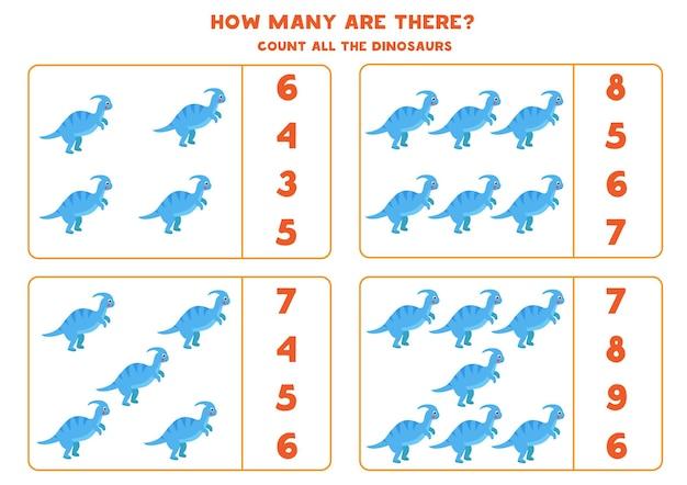 Spel tellen met schattige cartoon dinosaurus parasaurolophus. math werkblad.