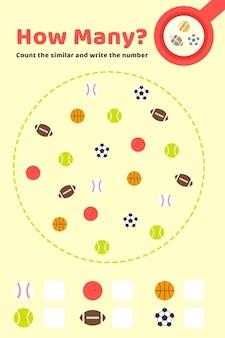 Spel tellen met verschillende ballen