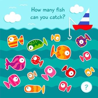 Spel tellen met vissen in zee