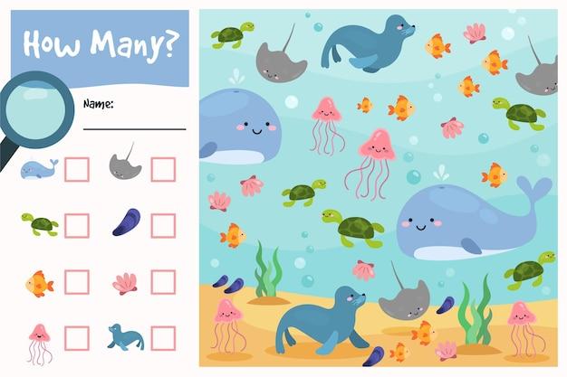 Spel tellen met zee-elementen