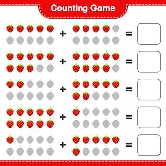Spel tellen, tel het aantal aardbeien en schrijf het resultaat.