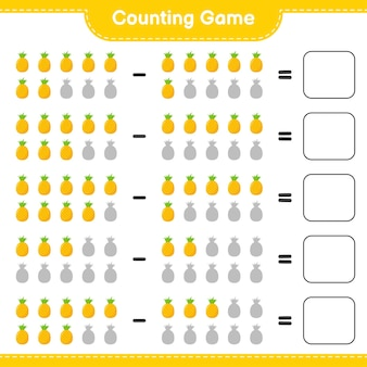 Spel tellen, tel het aantal ananas en schrijf het resultaat. educatief kinderspel, afdrukbaar werkblad
