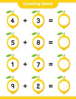 Spel tellen, tel het aantal citroen en schrijf het resultaat. educatief kinderspel, afdrukbaar werkblad
