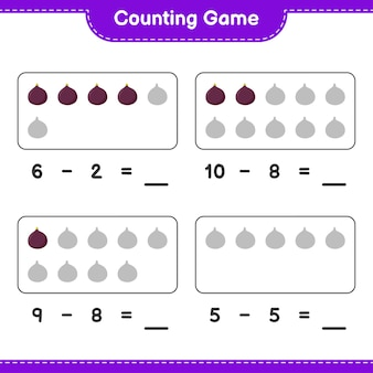 Spel tellen, tel het aantal fig en schrijf het resultaat. educatief kinderspel, afdrukbaar werkblad
