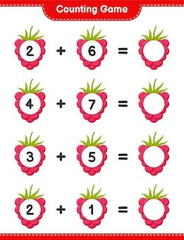 Spel tellen, tel het aantal frambozen en schrijf het resultaat. educatief kinderspel, afdrukbaar werkblad