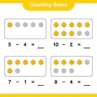Spel tellen, tel het aantal honingmeloen en schrijf het resultaat. educatief kinderspel, afdrukbaar werkblad