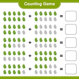 Spel tellen, tel het aantal jackfruit en schrijf het resultaat.