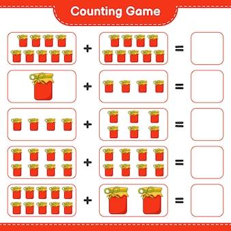 Spel tellen, tel het aantal jam en schrijf het resultaat. educatief kinderspel, afdrukbaar werkblad, illustratie