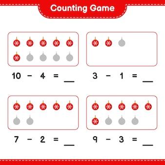 Spel tellen, tel het aantal kerstballen en schrijf het resultaat