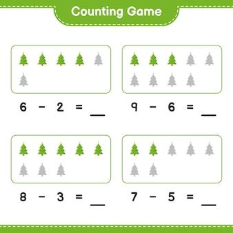 Spel tellen, tel het aantal kerstbomen en schrijf het resultaat