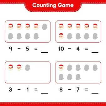 Spel tellen, tel het aantal kerstmannen en schrijf het resultaat
