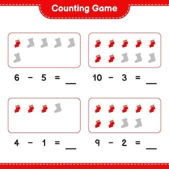 Spel tellen, tel het aantal kerstsokken en schrijf het resultaat