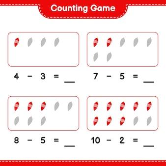 Spel tellen, tel het aantal kerstverlichting en schrijf het resultaat