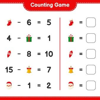Spel tellen, tel het aantal kerstversieringen en schrijf het resultaat. educatief kinderspel