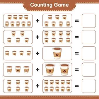 Spel tellen, tel het aantal koffiekopjes en schrijf het resultaat. educatief kinderspel, afdrukbaar werkblad, illustratie