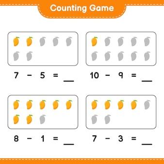 Spel tellen, tel het aantal mango en schrijf het resultaat. educatief kinderspel, afdrukbaar werkblad