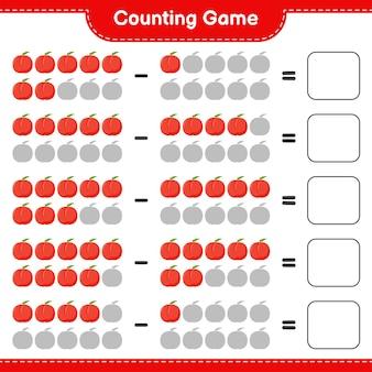 Spel tellen, tel het aantal nectarine en schrijf het resultaat. educatief kinderspel, afdrukbaar werkblad