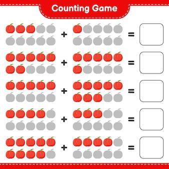 Spel tellen, tel het aantal nectarine en schrijf het resultaat.