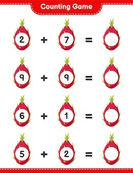 Spel tellen, tel het aantal pitaya en schrijf het resultaat. educatief kinderspel, afdrukbaar werkblad