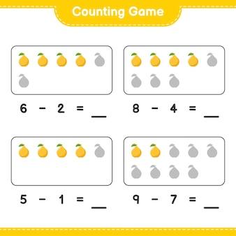 Spel tellen, tel het aantal quince en schrijf het resultaat. educatief kinderspel, afdrukbaar werkblad