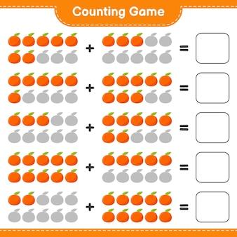 Spel tellen, tel het aantal tangerin en schrijf het resultaat.