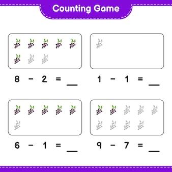 Spel tellen, tel het aantal vlierbessen en schrijf het resultaat. educatief kinderspel, afdrukbaar werkblad