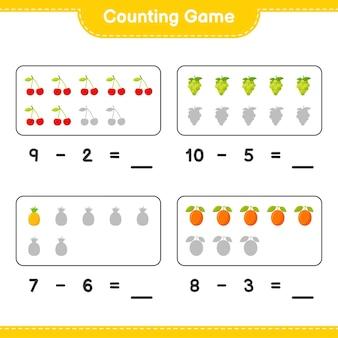 Spel tellen, tel het aantal vruchten en schrijf het resultaat. educatief kinderspel, afdrukbaar werkblad