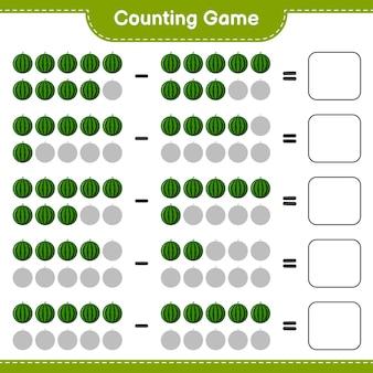 Spel tellen, tel het aantal watermeloen en schrijf het resultaat. educatief kinderspel, afdrukbaar werkblad