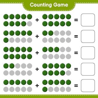 Spel tellen, tel het aantal watermeloen en schrijf het resultaat.