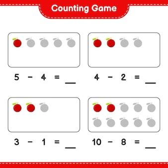 Spel tellen, tel het aantal yumberry en schrijf het resultaat. educatief kinderspel, afdrukbaar werkblad